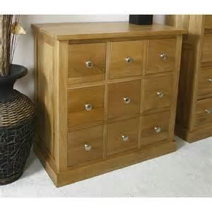 50 glenmore oak compact 9 drawer storage unit