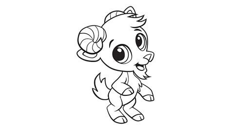 Baby Goats Coloring Pages | baby goat coloring printable