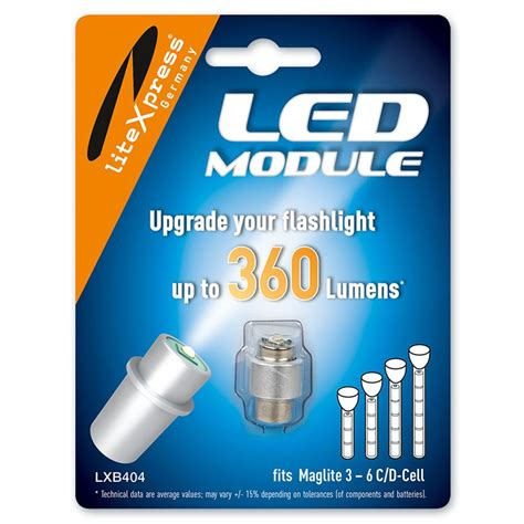 upgrade maglite litexpress lxb404 led upgrade module 360 lumens for 3 6