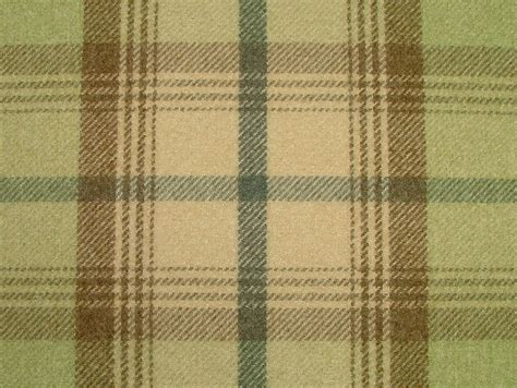 tartan curtain fabric uk balmoral sage green wool effect washable thick tartan