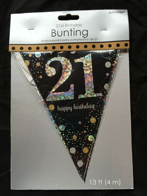 st birthday pennant flag banner black silver gold party