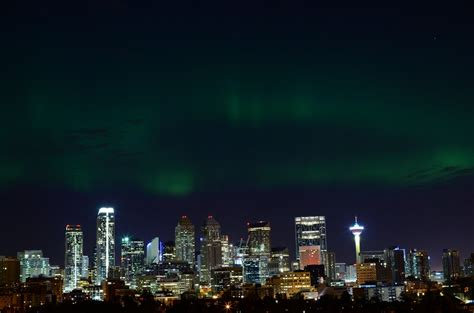 Northern Lights Over Downtown Calgary Calgary Lights