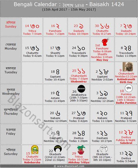Calendar 2018 Bengali Bengali Calendar Baisakh 1424 ব ল ক ল ন ড র ব শ খ