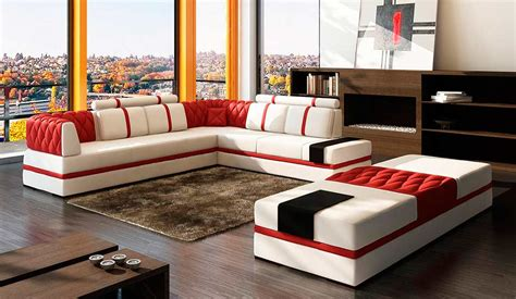 red and white sectional modern red sectional sofa vg012 leather sectionals