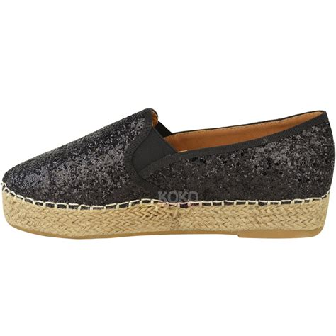 wedges flat shoes womens flat espadrilles low wedge slip on glitter