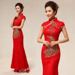 Red sequins embroidered chinese qipao dresses long mandarin collar