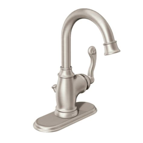 traditional bathroom faucets moen traditional one handle high arc bathroom faucet in spot resist brushed nickel