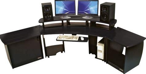 large gaming desk omnirax omnidesk audio video editing workstation black