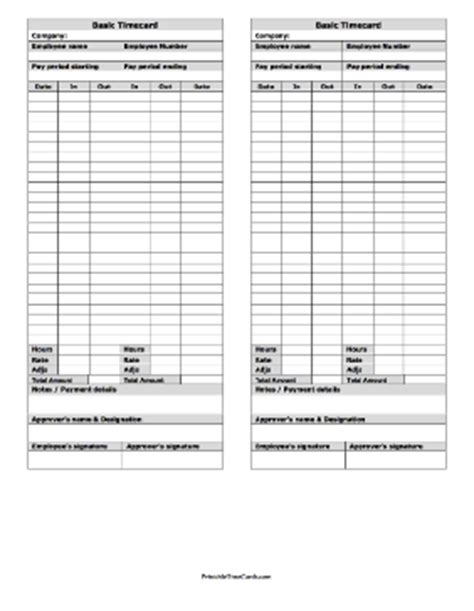 basic time card template free basic large time card