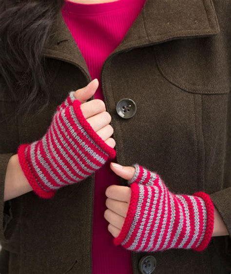 knit pattern heart mittens sleek striped fingerless gloves allfreeknitting com