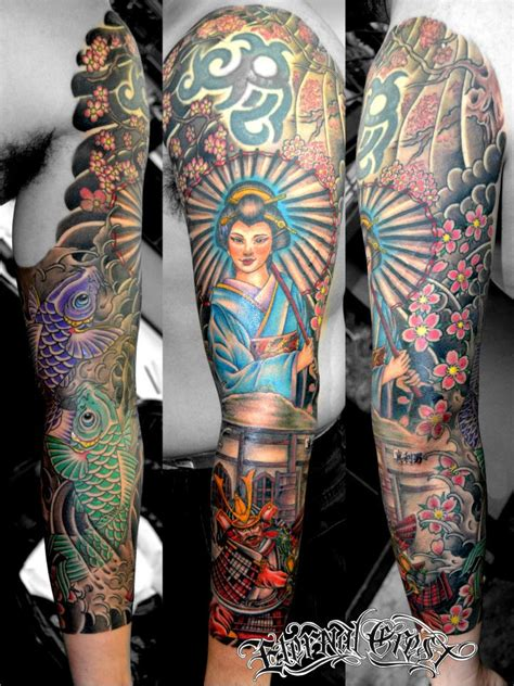 custom japanese sleeve artist haya eternal crest tattoo