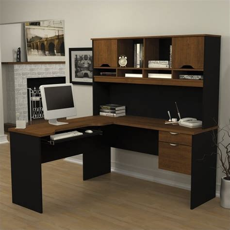 bestar innova u desk with hutch in white and antigua bestar innova l shape wood computer workstation with hutch