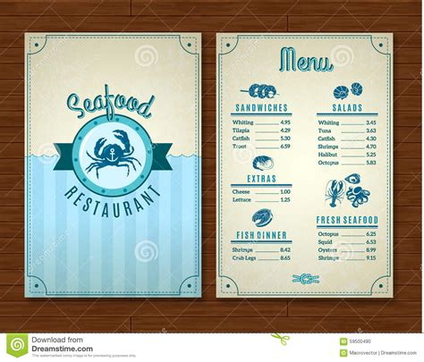 seafood menu templates seafood menu template stock vector image 59500490