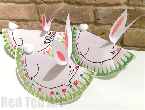 paper plate easter crafts easy rocking paper plate bunny rabbit ted s