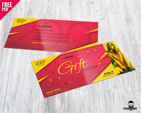 reward cards template mockup fashion gift voucher free psd psddaddy