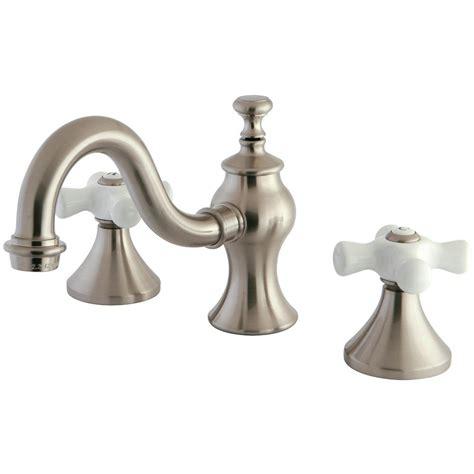 victorian widespread bathroom faucet porcelain cross kingston brass victorian 8 in widespread 2 handle mid arc