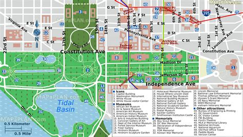 washington dc map of attractions maps update 700495 washington dc map tourist