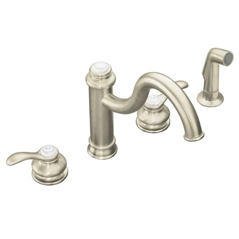 Kohler Kitchen Sink Faucet Shop Kohler Fairfax Vibrant Brushed Nickel 2 Handle High Arc Kitchen Faucet At Lowes