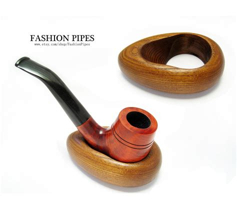 Handcrafted Pipes - new wooden pipe stand hoop rack holder for tobacco by
