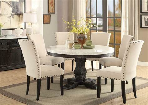 nolan  white marble top dining room set acme