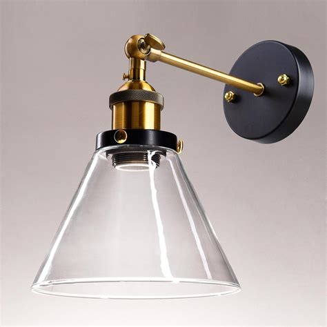 Barn Wall Sconce Vintage Retro Industrial Barn Wall L Sconce Light Glass Lshade Metal Arm
