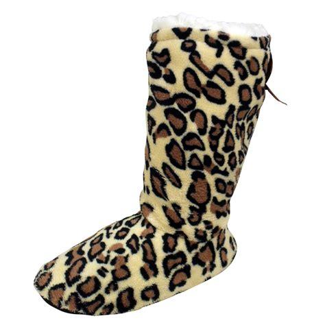 animal slipper socks womens sherpa ankle boot slipper socks animal print