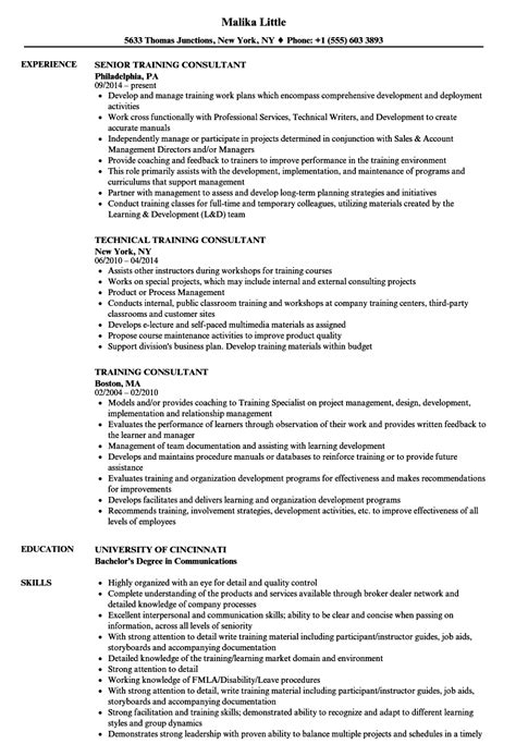 nice training consultant resume sles contemporary