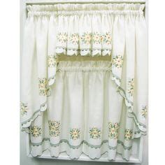 you have to see kitchen scalloped valance on craftsy sunflower floral kitchen tiers and valance by lorraine