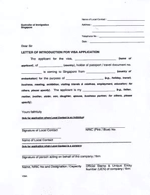 Singapore Visa Letter Of Introduction Singapore Visa Form Filled Sle Letter Of Introduction For Visa Application Fill