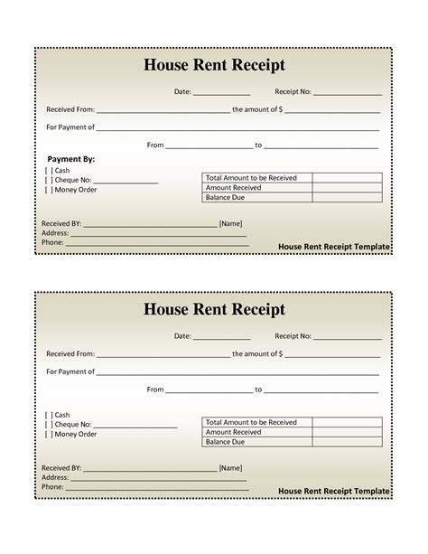 money rent receipt template invoice sle and free house rental invoice house