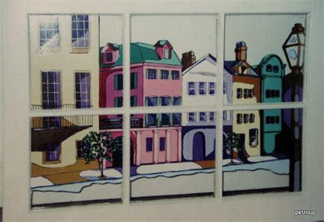 home decor north charleston rainbow row window painting charleston art original