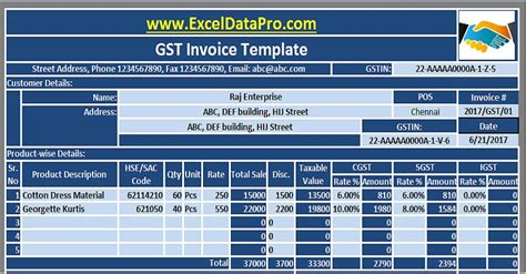 Gst Credit Formula Gst Invoice Excel Template In Compliance With Gst Bill 2017 Exceldatapro