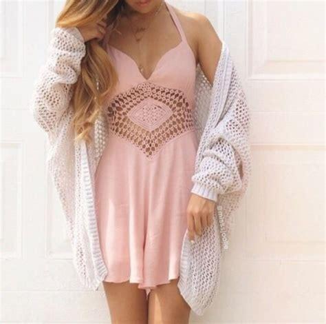 light pink pattern dress dress cardigan pink dress cute dress white cardigan