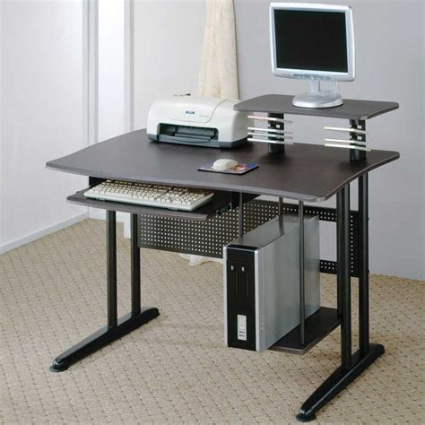 Small Computer Desk With Keyboard Tray Workspace With Chic Small Corner Computer Desk Offer Minimalist Black File Drawers