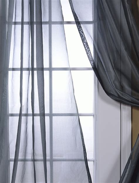 Grey Silk Organza Sheer Curtain Contemporary Curtains