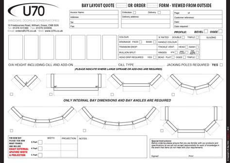 Bow Window Roof order forms