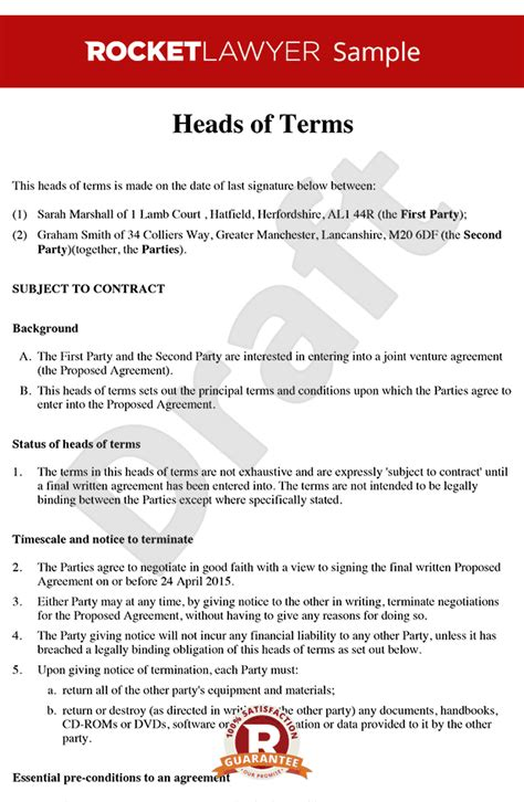 terms of agreement template heads of terms sle heads of agreement template