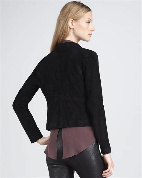 draped suede jacket theory draped suede jacket in black lyst