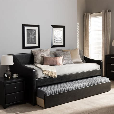 contemporary day bed baxton studio barnstorm contemporary black faux leather