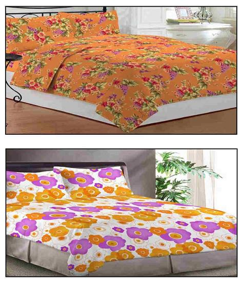 bombay dyeing orange bed sheet with 2 pillow covers
