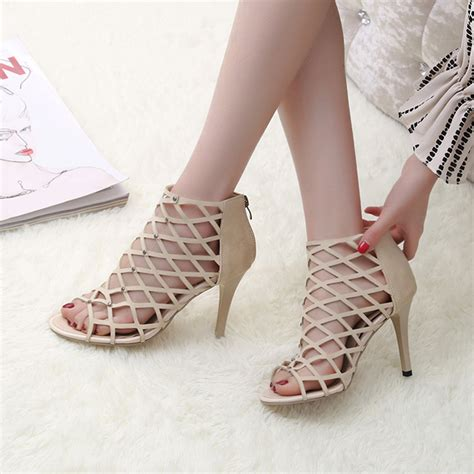 High Heels Gareu Shoes G 5111 fashion gladiator high heels sandals genova stiletto sandal booties open toe shoes