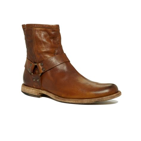 frye shoes frye philip harness boots in brown for cognac lyst