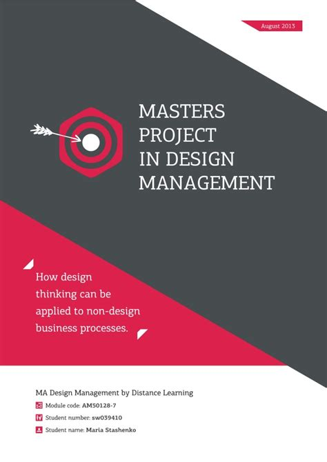 design thinking management masters project in design management design thinking in