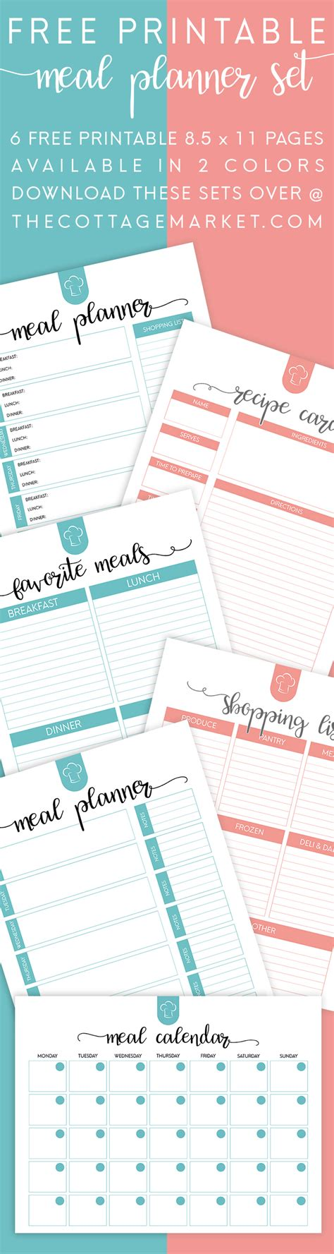 free printable planner set free printable meal planner set the cottage market