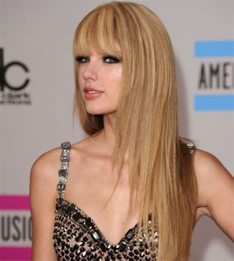 pictures of taylor swift with straight hair and bangs and bob blush and pearls a new look a new man taylor swift