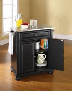 Stainless steel top portable kitchen island in black efurniture mart
