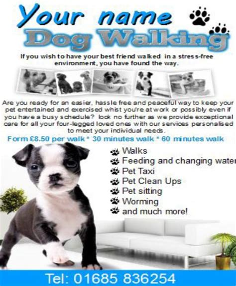 Dog Walking Flyer Template Shatterlion Info Walking Business Flyer Template