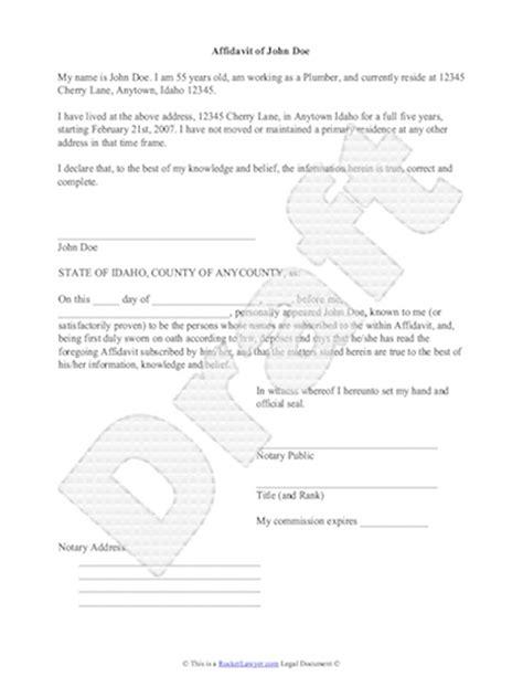Sample Affidavit Free Sworn Affidavit Letter Template