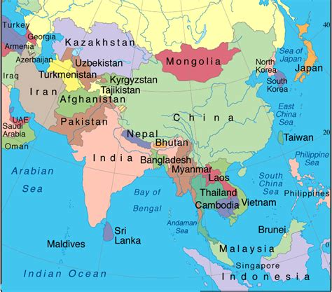 asia map with country names and capitals pdf map of world region city