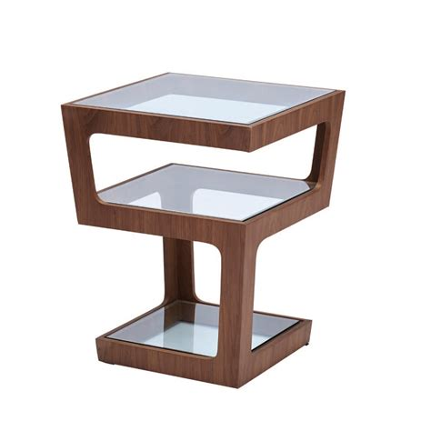 Geometric Side Table Geometric Side Table Walnut L Eclectique La Touch Of Modern